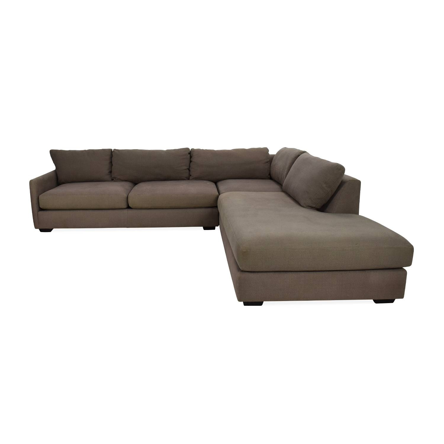 56% Off   Brown Corduroy L Shaped Sectional Couch / Sofas Regarding Crate And Barrel Sofa Sleepers (Photo 15 of 15)