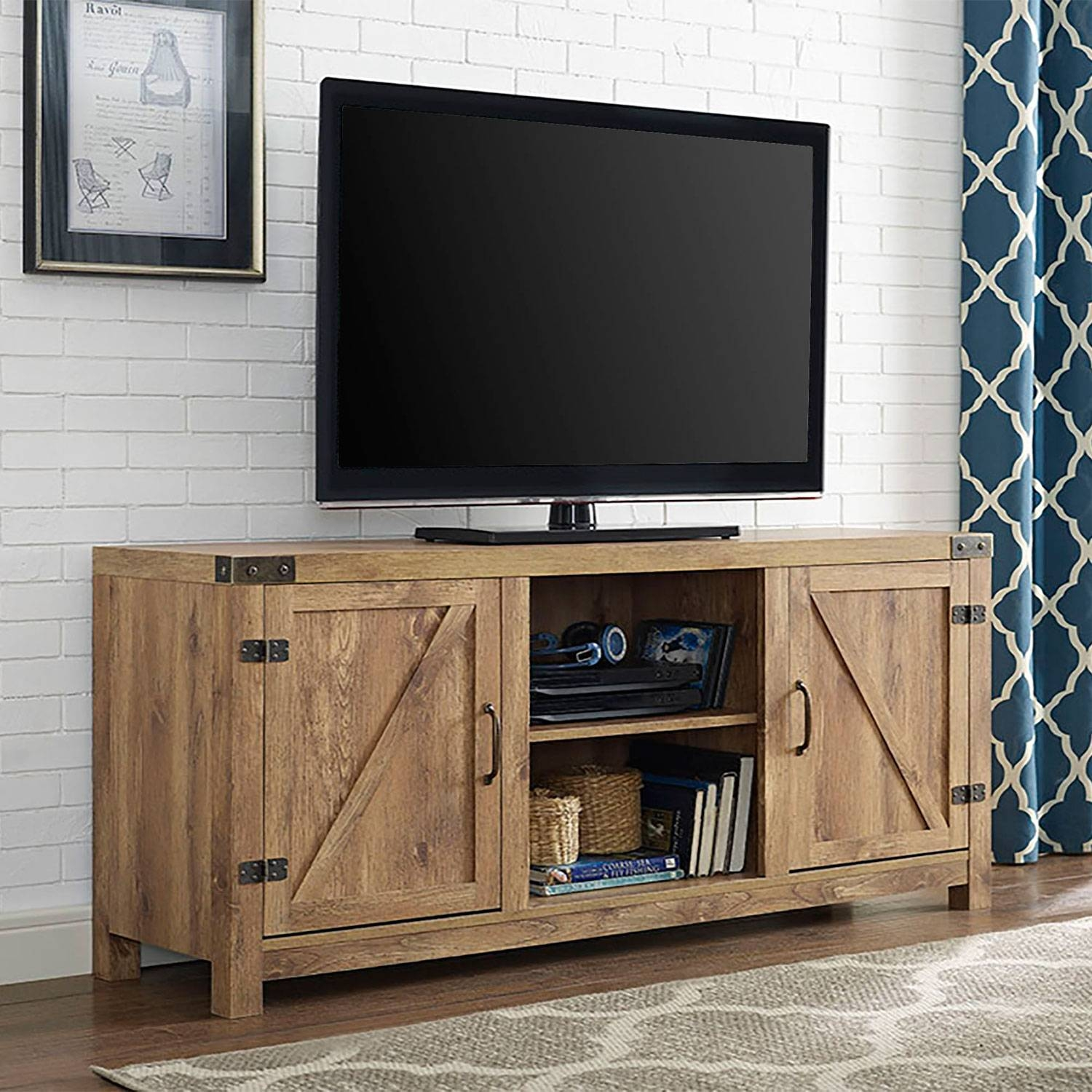 58 Inch Barn Door Tv Stand With Side Doors Barnwood Walker Edison pertaining to 24 Inch Deep Tv Stands (Image 1 of 15)