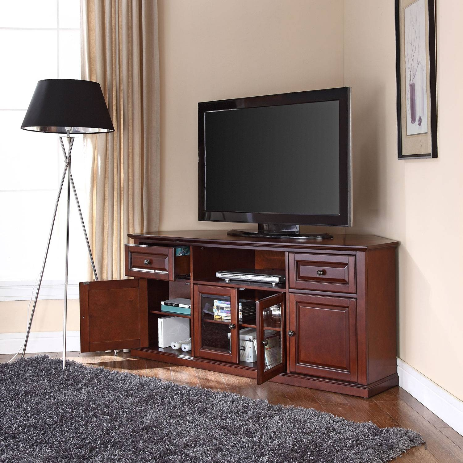 60 Inch Corner Tv Stand In Vintage Mahogany Crosley Furniture For Mahogany Corner Tv Cabinets (Photo 13 of 15)