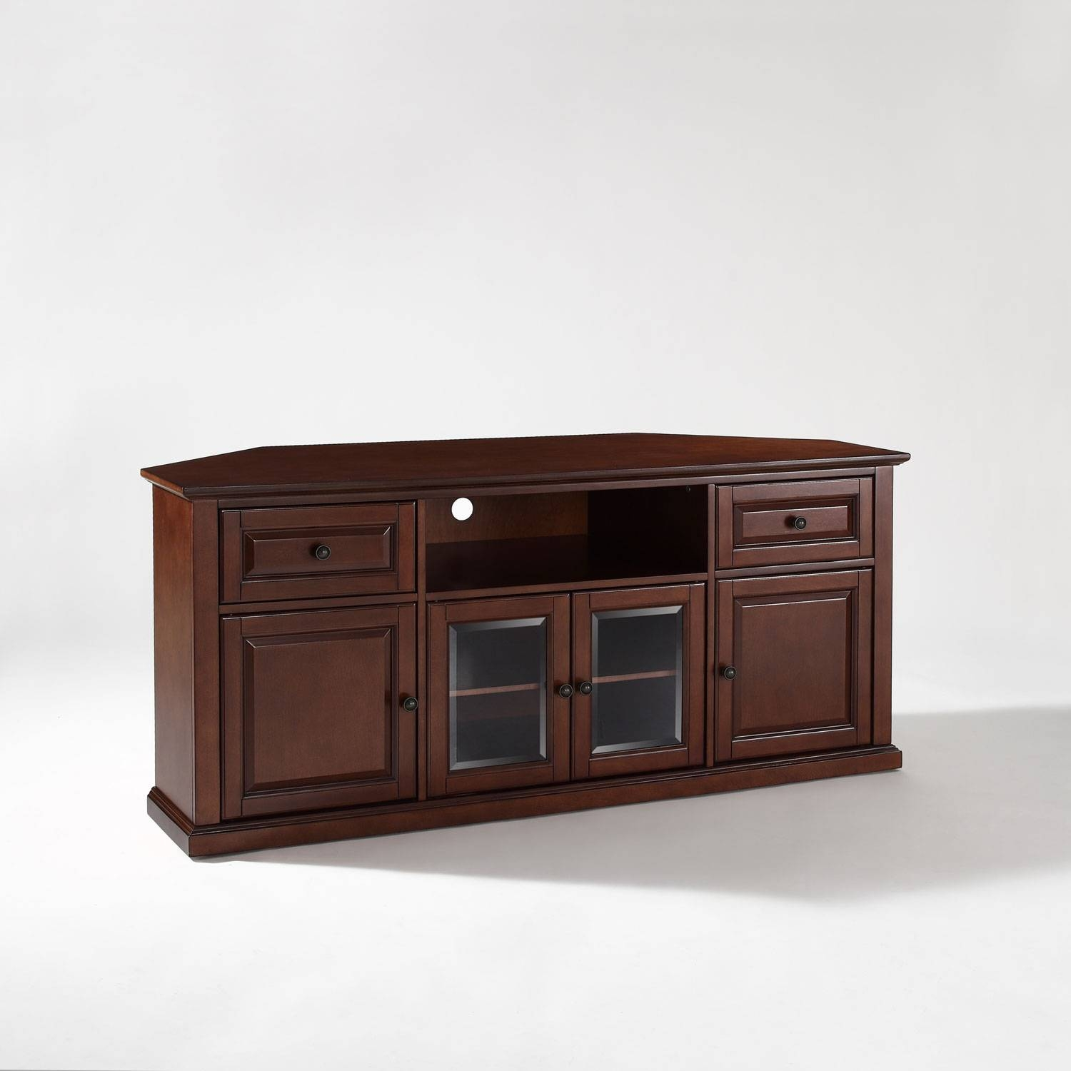 60 Inch Corner Tv Stand In Vintage Mahogany Crosley Furniture Regarding Wood Corner Tv Cabinets (Photo 6 of 15)