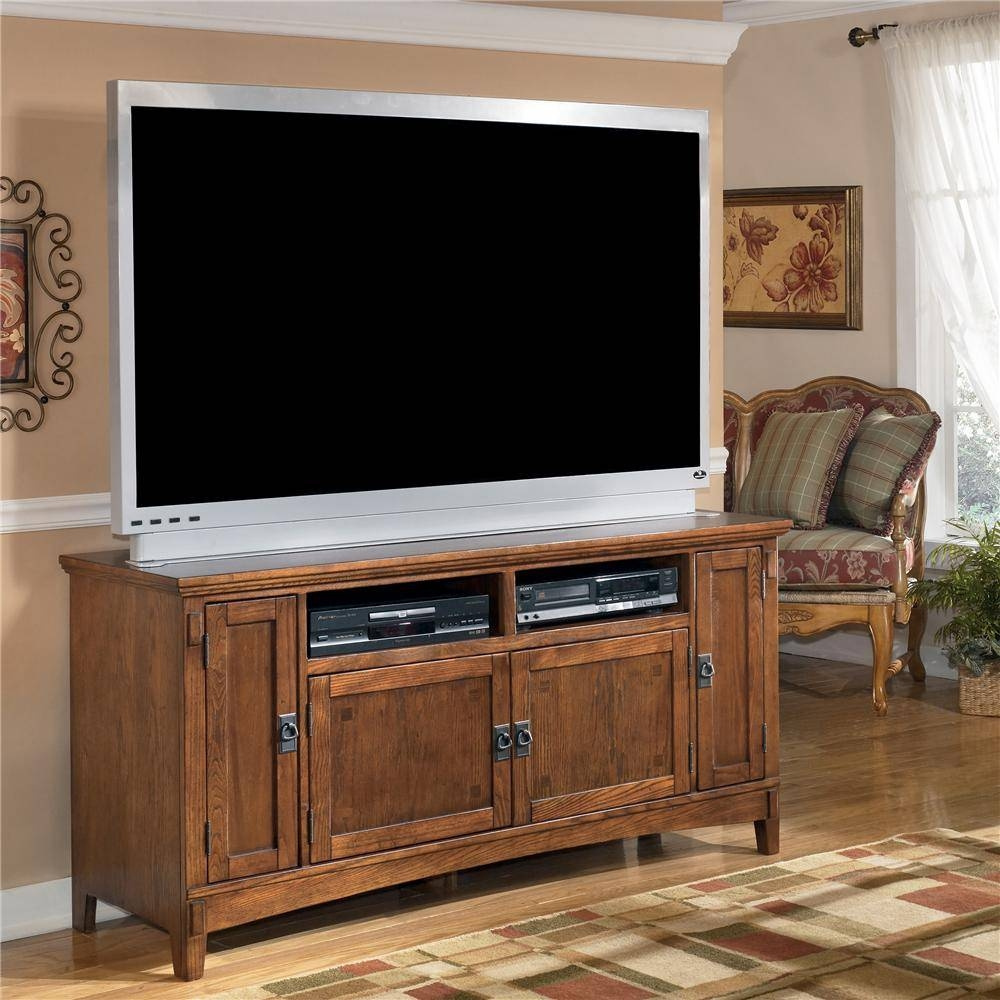 60 Inch Oak Tv Stand With Mission Style Hardwareashley With Country Style Tv Cabinets (Photo 7 of 15)