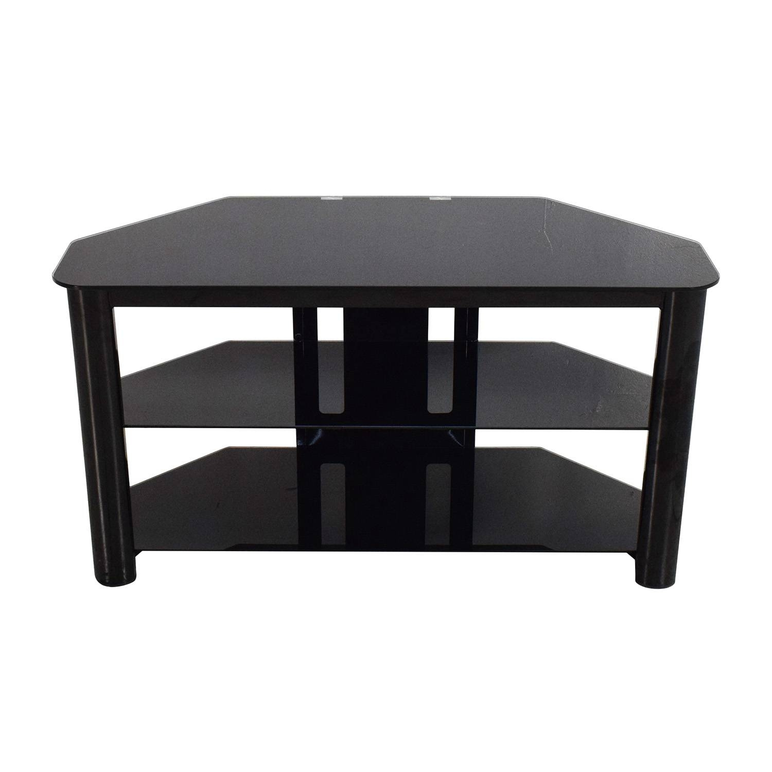 61% Off   Best Buy Best Buy Black Glass Tv Stand / Storage Pertaining To Black Glass Tv Stands (Photo 5 of 15)