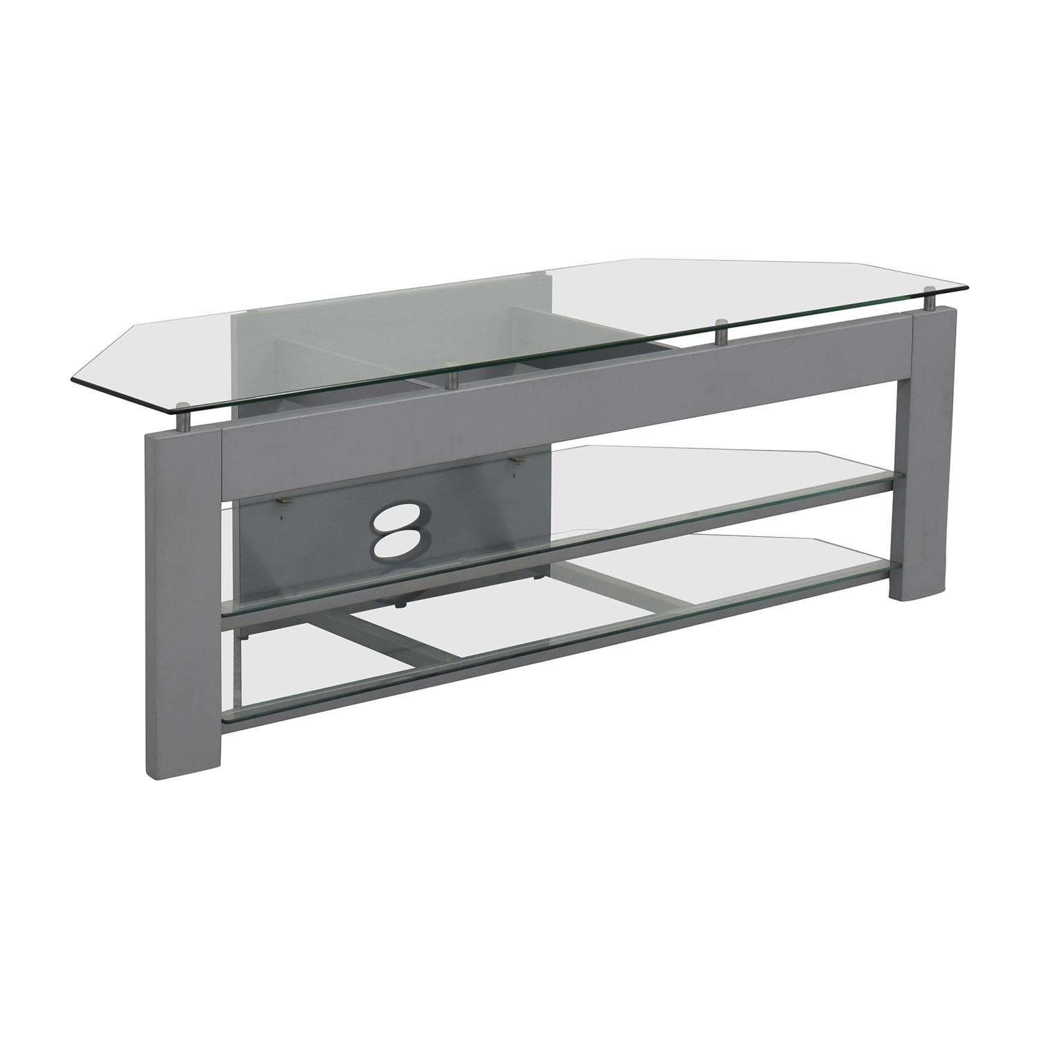 73% Off – Silver And Glass Tv Stand / Storage Inside Silver Tv Stands (View 3 of 15)