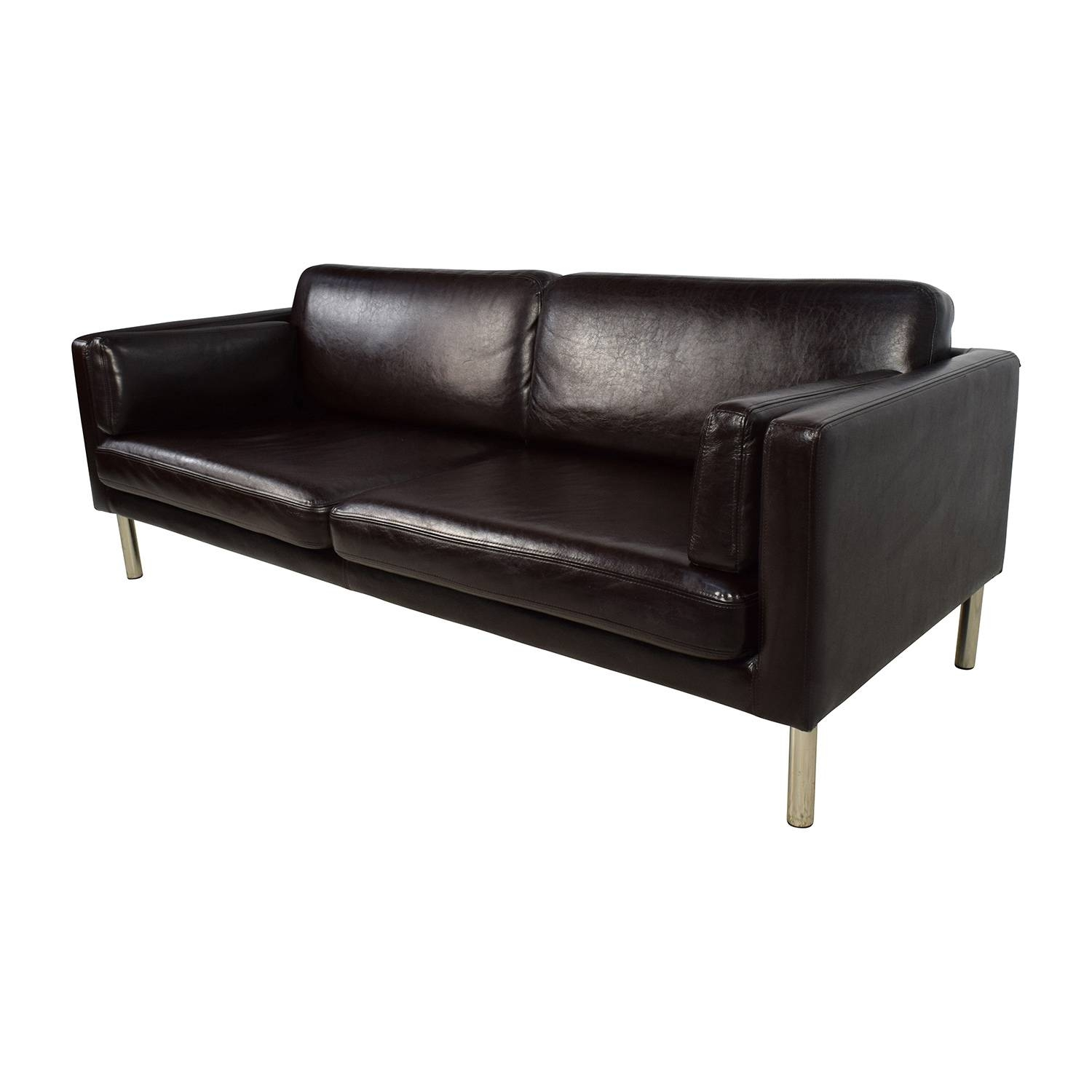 76% Off   Brown Leather Sofa With Chrome Legs / Sofas Intended For Sofas With Chrome Legs (Photo 8 of 15)