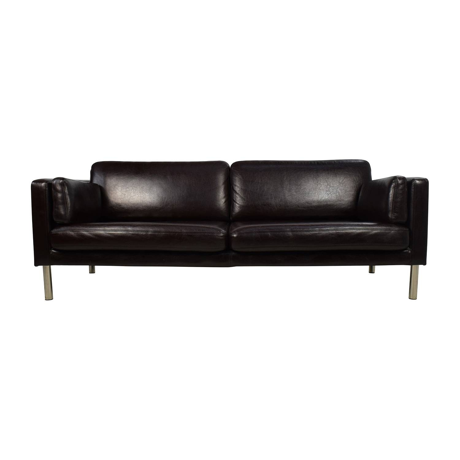 76% Off - Brown Leather Sofa With Chrome Legs / Sofas intended for Sofas With Chrome Legs (Image 2 of 15)
