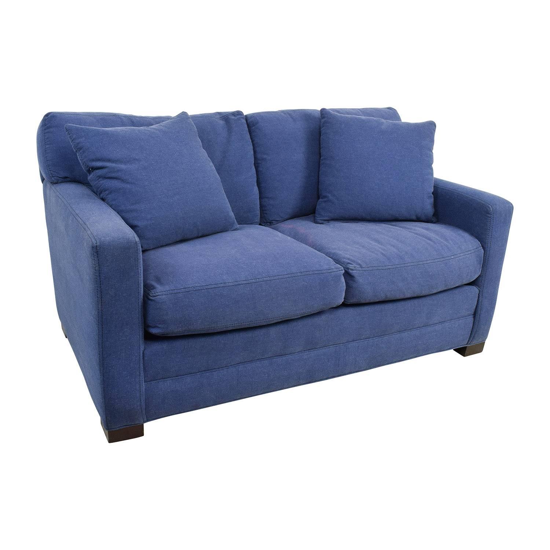 79% Off   Lee Industries Lee Industries Denim Blue Loveseat / Sofas Throughout Denim Loveseats (Photo 2 of 15)