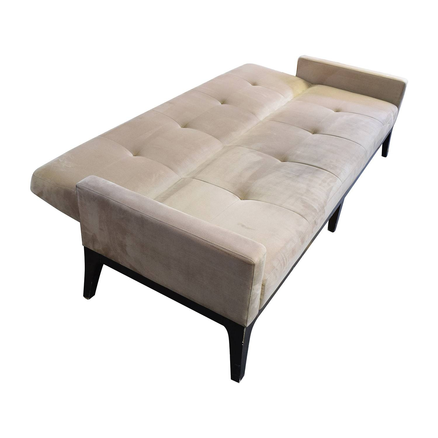 82% Off - Crate And Barrel Crate & Barrel Beige Tufted Futon Sofa for Crate and Barrel Futon Sofas (Image 10 of 15)