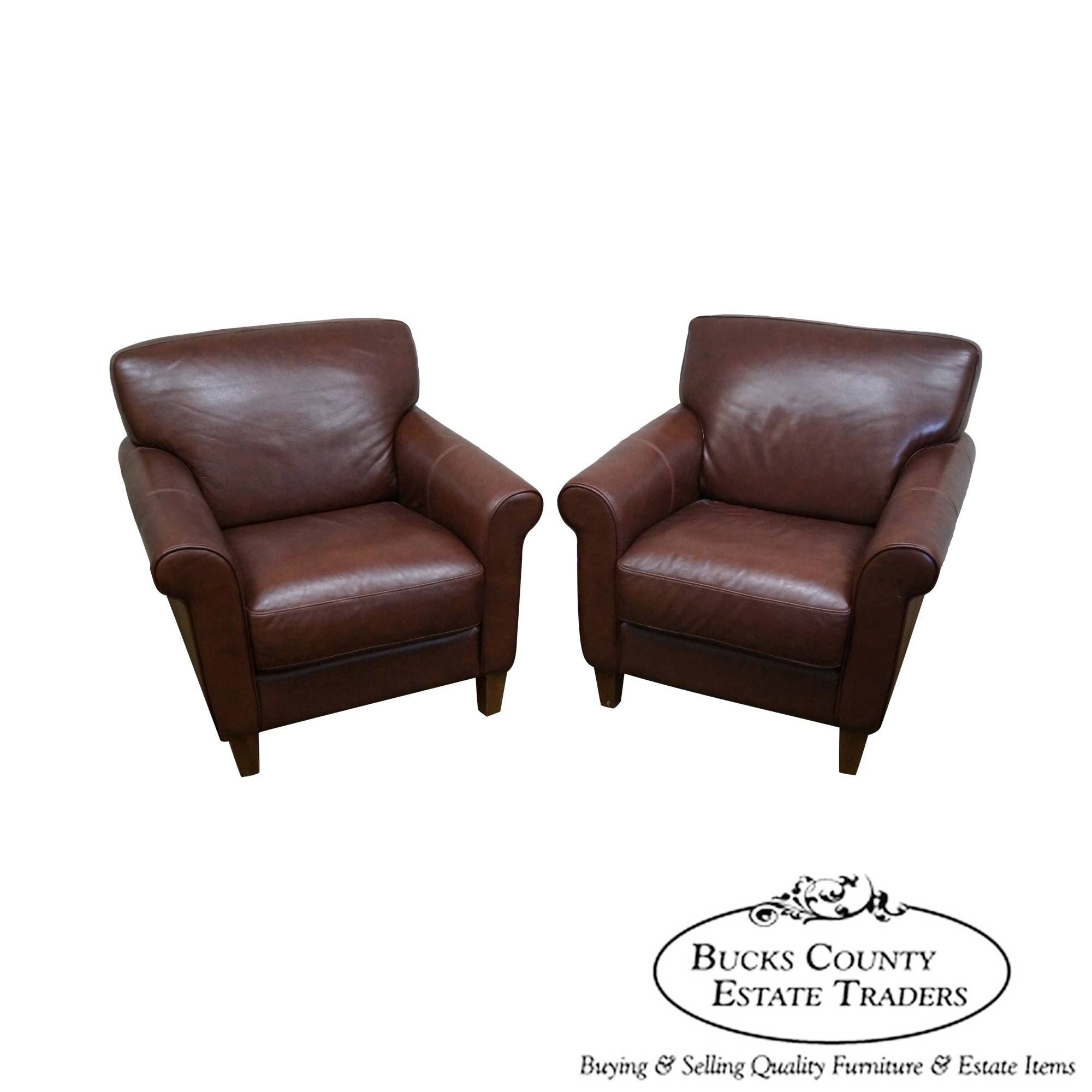 8311 Ax Divani Chateau D' Ax Pair Of Brown Leather Lounge Club with regard to Divani Chateau D'ax Leather Sofas (Image 1 of 15)