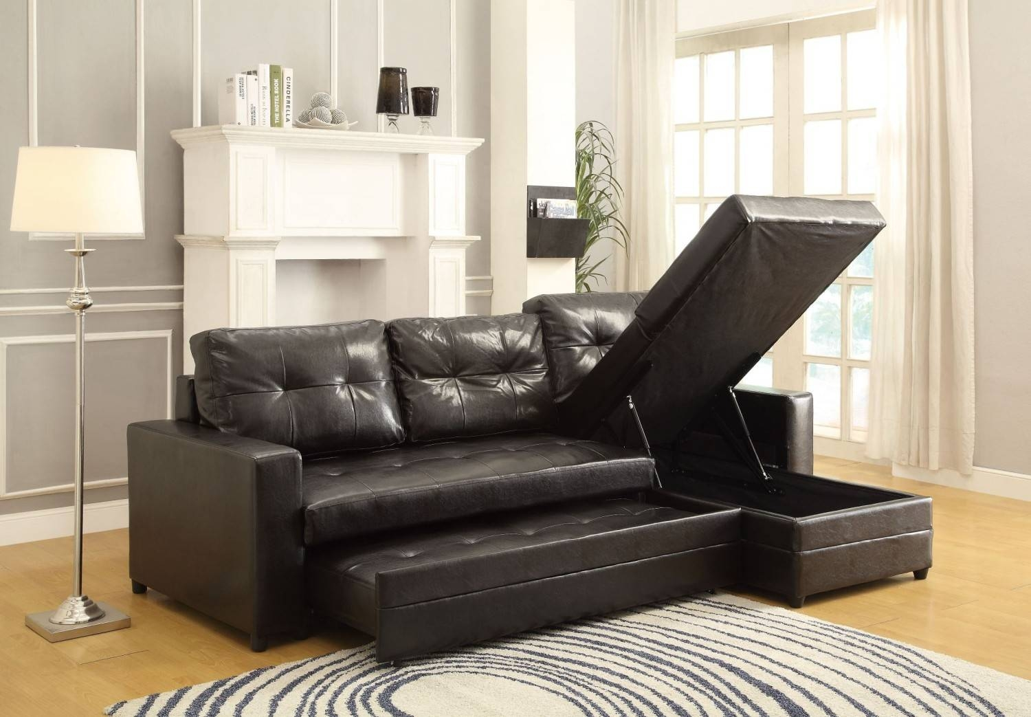 $981.00 Kemen Sectional Sofa With Pull-Up Trundle D2D Furniture Store pertaining to Sofas With Trundle (Image 1 of 15)