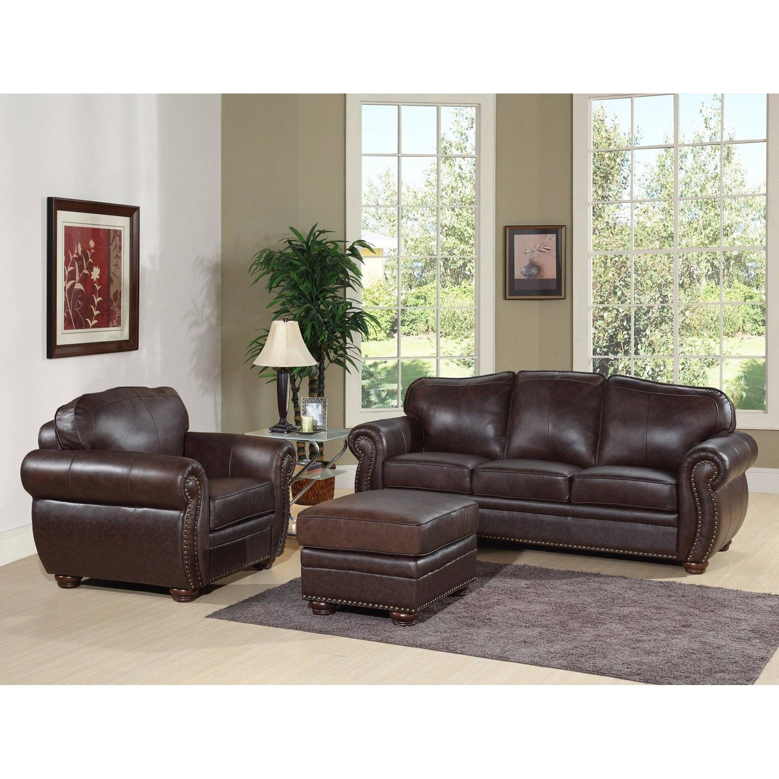 Abbyson Berkeley Brown Italian Leather Chair And Ottoman Sofa Set in Abbyson Sofas (Image 1 of 15)