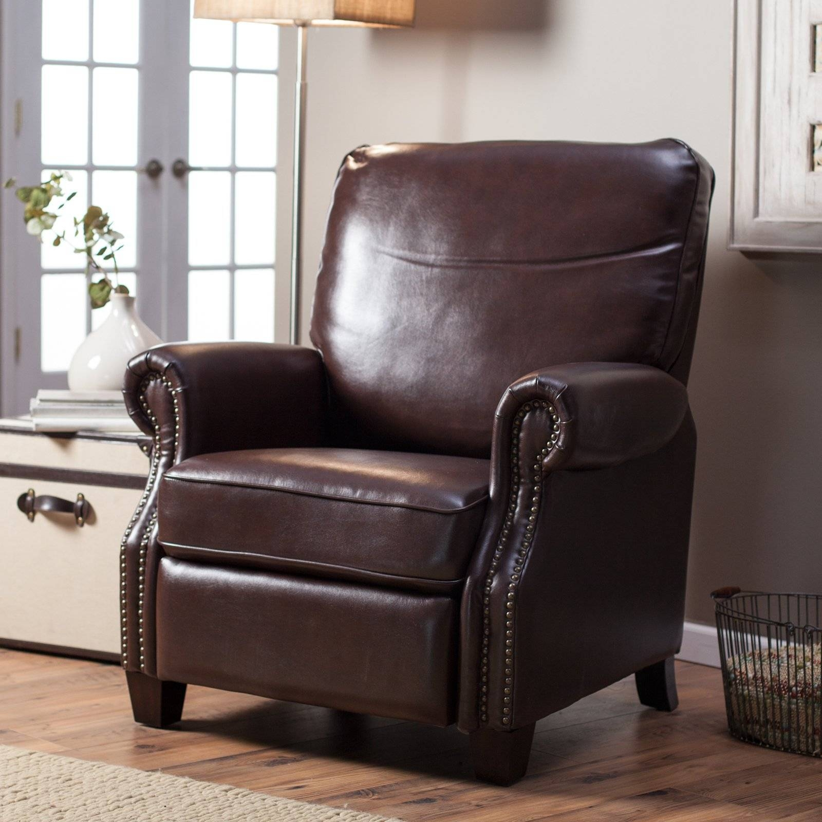 Abbyson Hogan Italian Leather Reclining Chair With Nailheads Intended For Abbyson Recliners (View 5 of 15)