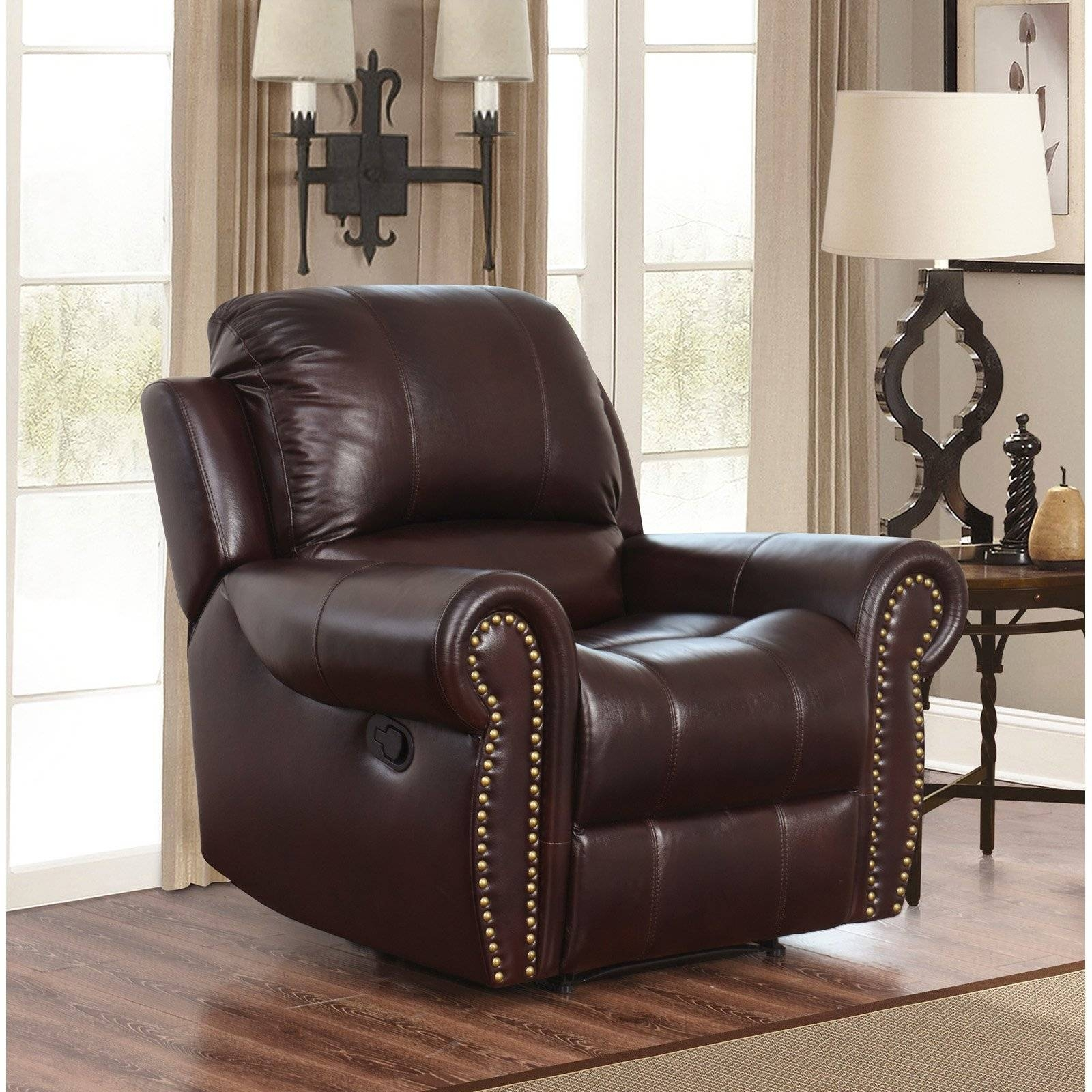 Abbyson Hogan Italian Leather Reclining Chair With Nailheads Regarding Abbyson Recliners (View 4 of 15)