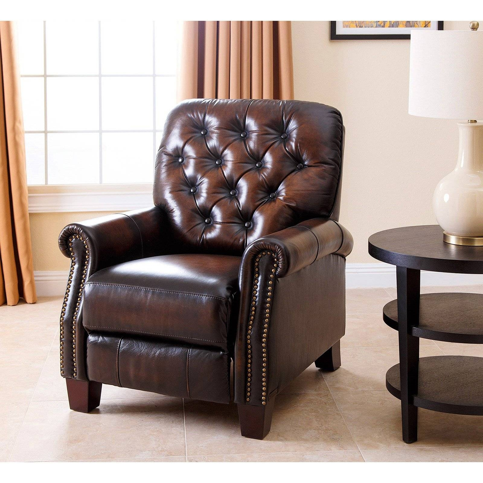 Abbyson Hogan Italian Leather Reclining Chair With Nailheads regarding Abbyson Recliners (Image 3 of 15)