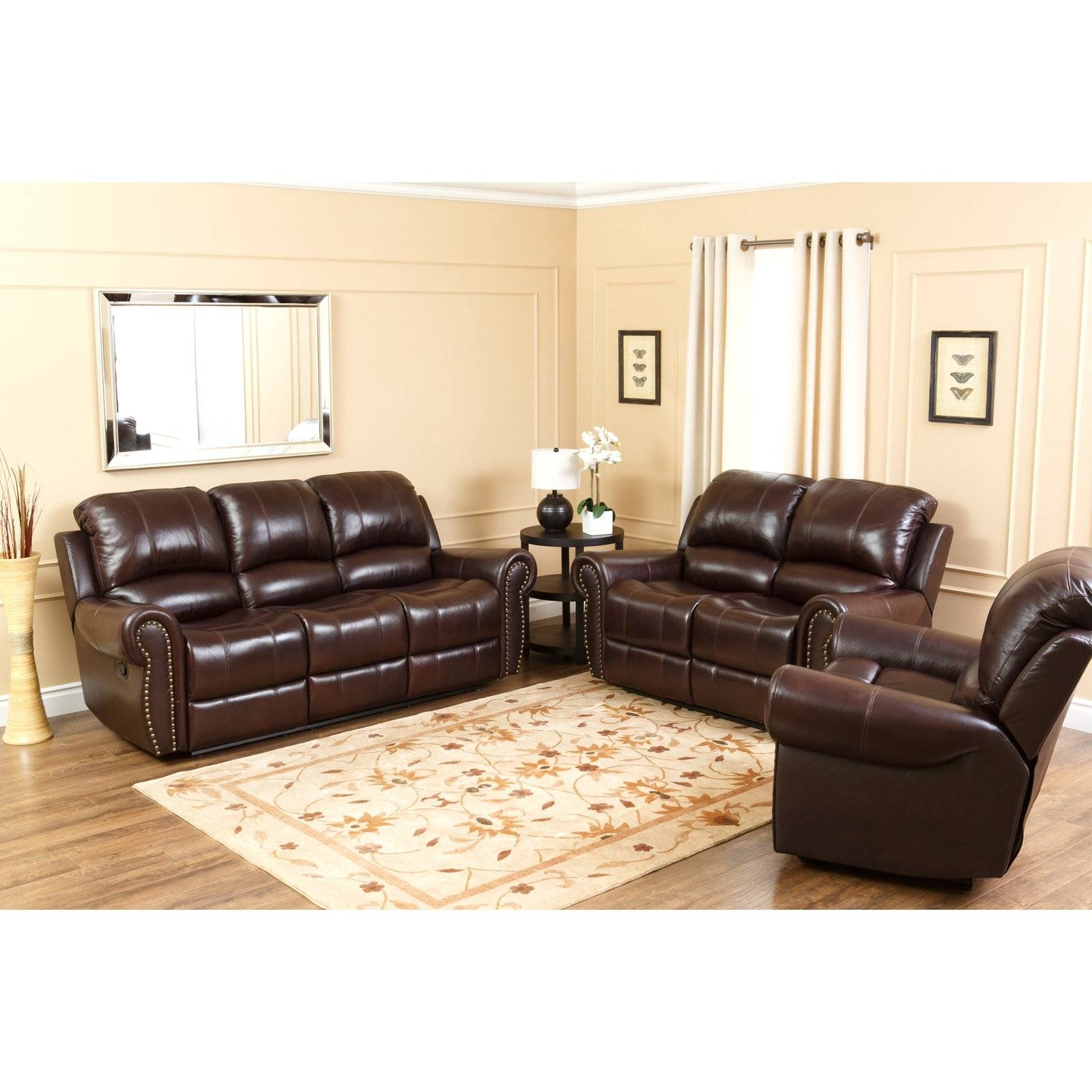 Abbyson Lexington Dark Burgundy Italian Leather Reclining Loveseat intended for Abbyson Sofas (Image 2 of 15)