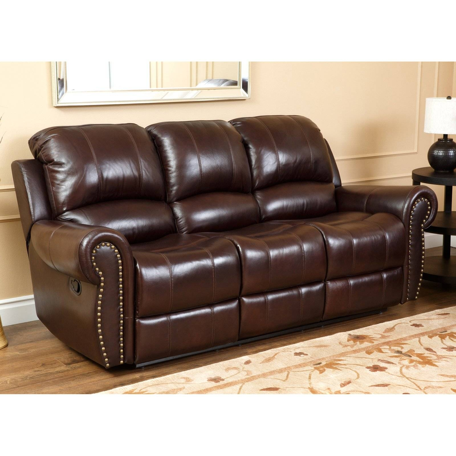 Abbyson Lexington Dark Burgundy Italian Leather Reclining Loveseat with regard to Abbyson Sofas (Image 3 of 15)