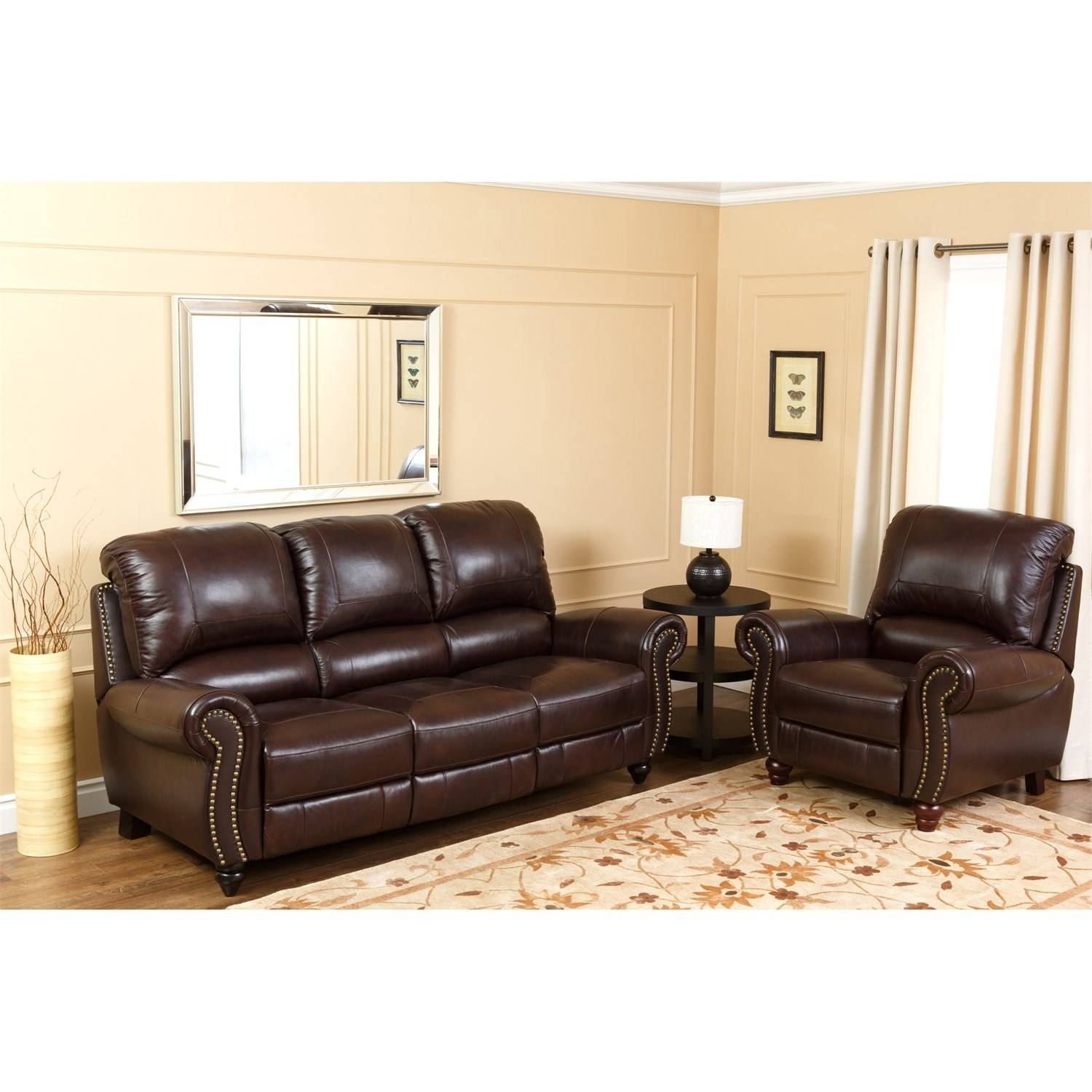 Abbyson Living Ch-8857-Brg-3/1 Canterbury Leather Pushback inside Abbyson Living Sofas (Image 1 of 15)