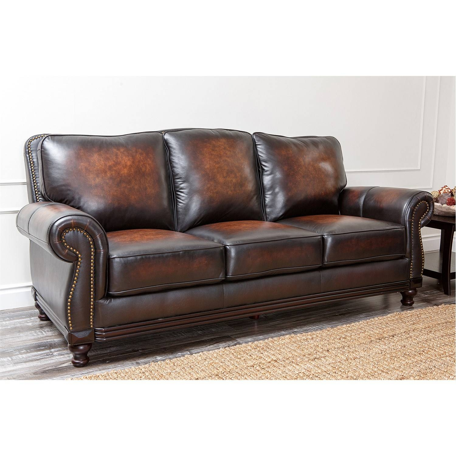 Abbyson Living Ci-N180-Brn-3 Barclay Hand-Rubbed Leather Sofa throughout Abbyson Living Sofas (Image 2 of 15)