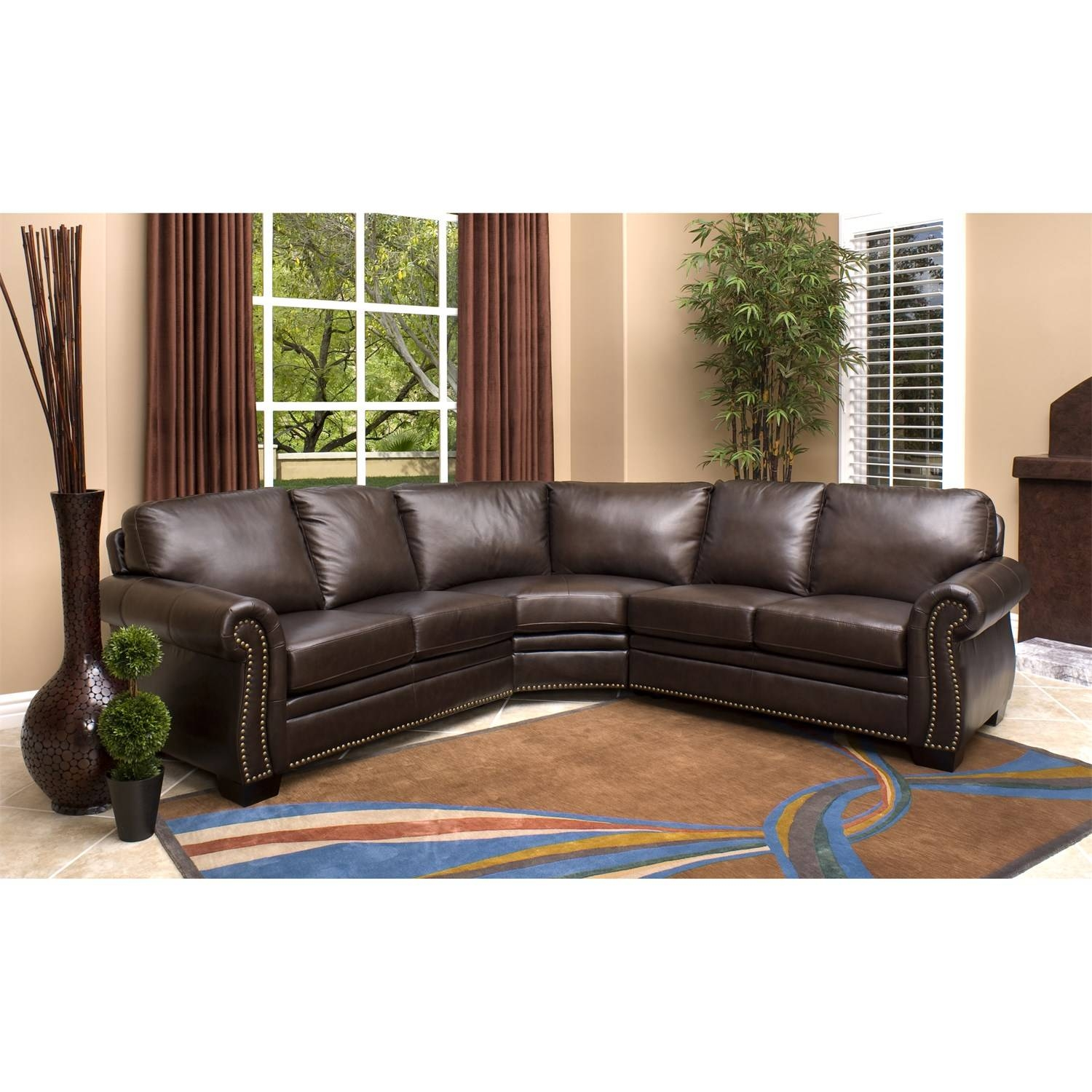 Abbyson Living Ci-N410-Brn Oxford Italian Leather Sectional Sofa throughout Abbyson Living Sectional Sofas (Image 2 of 15)