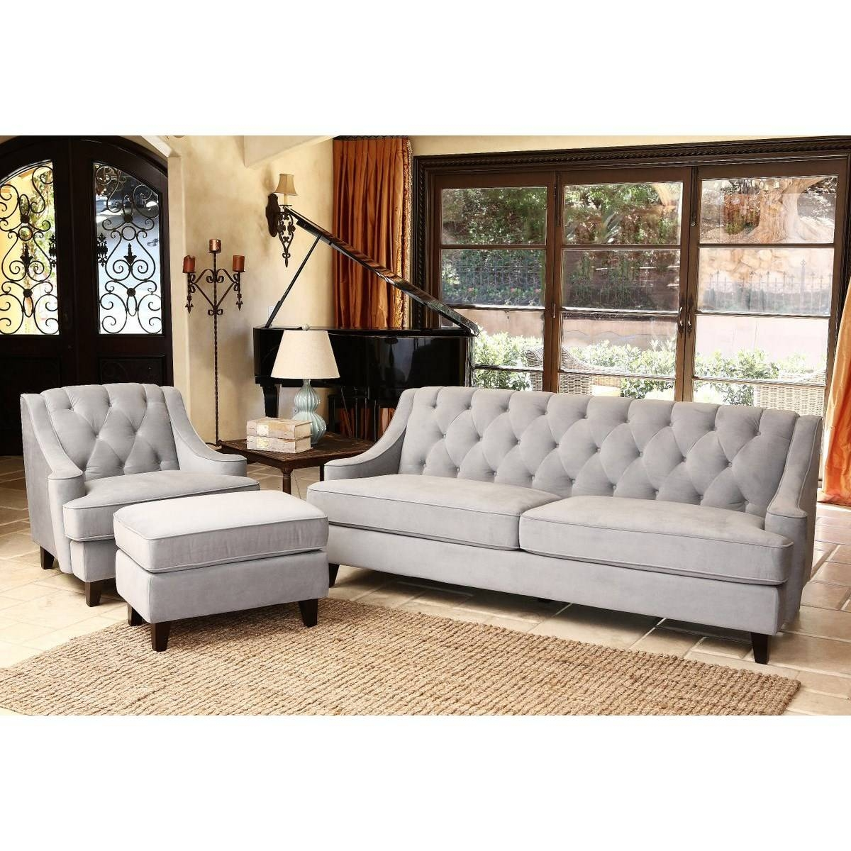 Abbyson Living Rl-1450-Bge-3 Emily Velvet Fabric Tufted Sofa regarding Abbyson Living Sofas (Image 4 of 15)