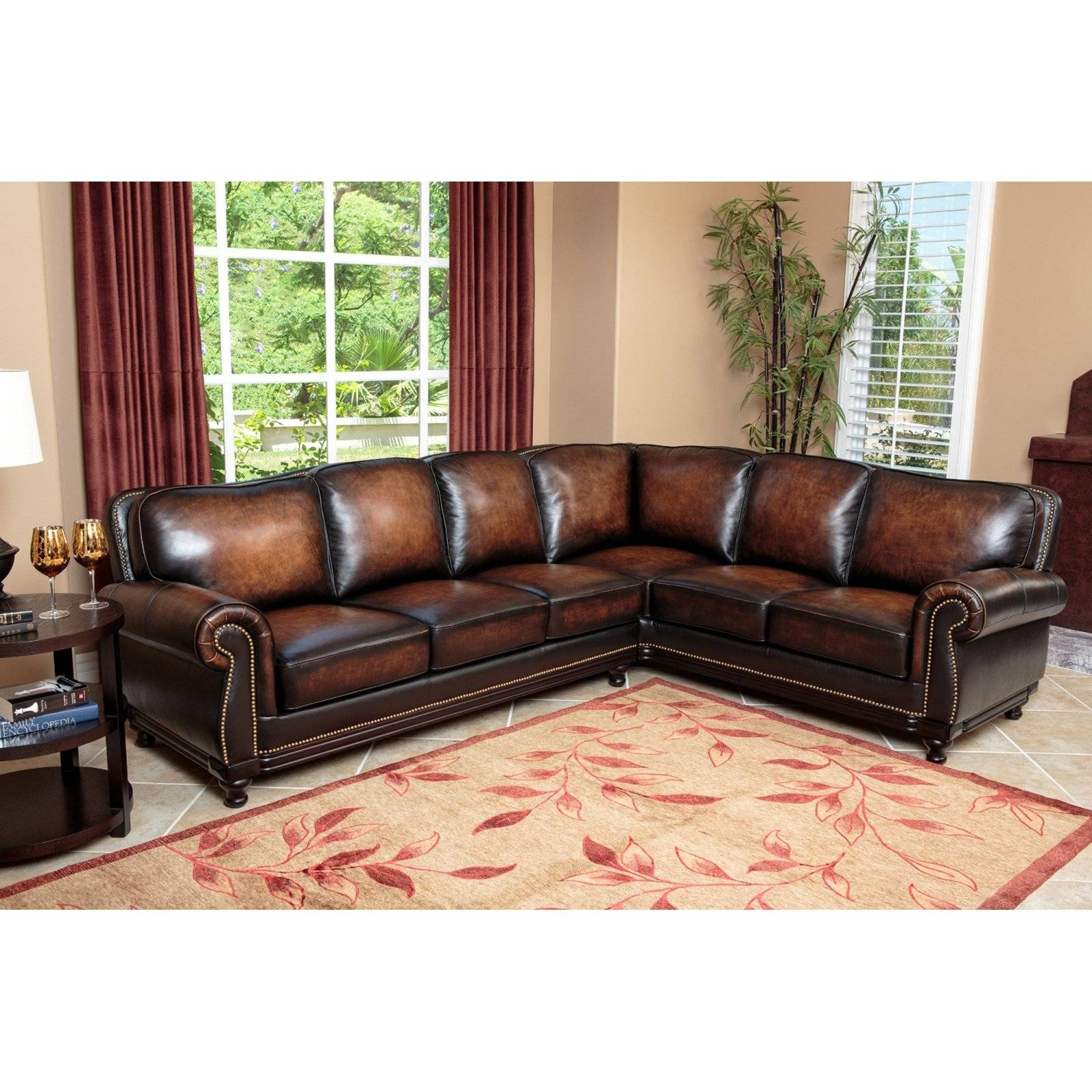 Abbyson Nizza Hand Rubbed Leather Sectional Sofa - Brown | Hayneedle inside Abbyson Living Sectional Sofas (Image 3 of 15)