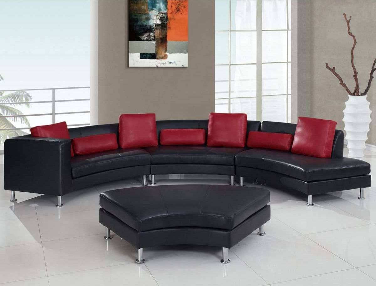 Accessories: Breathtaking Living Room Decoration Using Red Leather regarding Black And Red Sofas (Image 4 of 15)