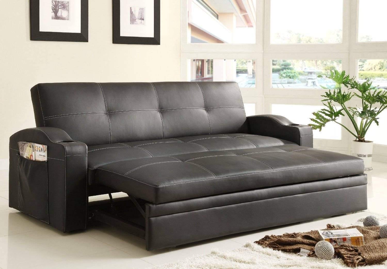 Adjustable Queen Size Sofa Bed Black Color Upholstered In Black Bi within Sofa Beds With Trundle (Image 2 of 15)