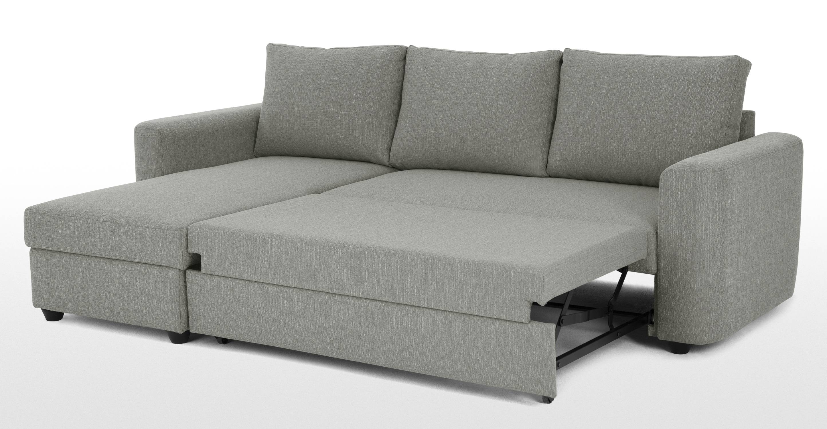 Aidian Corner Storage Sofa Bed, Silver Grey | Made With Sofa Beds With Storage Chaise (View 1 of 15)