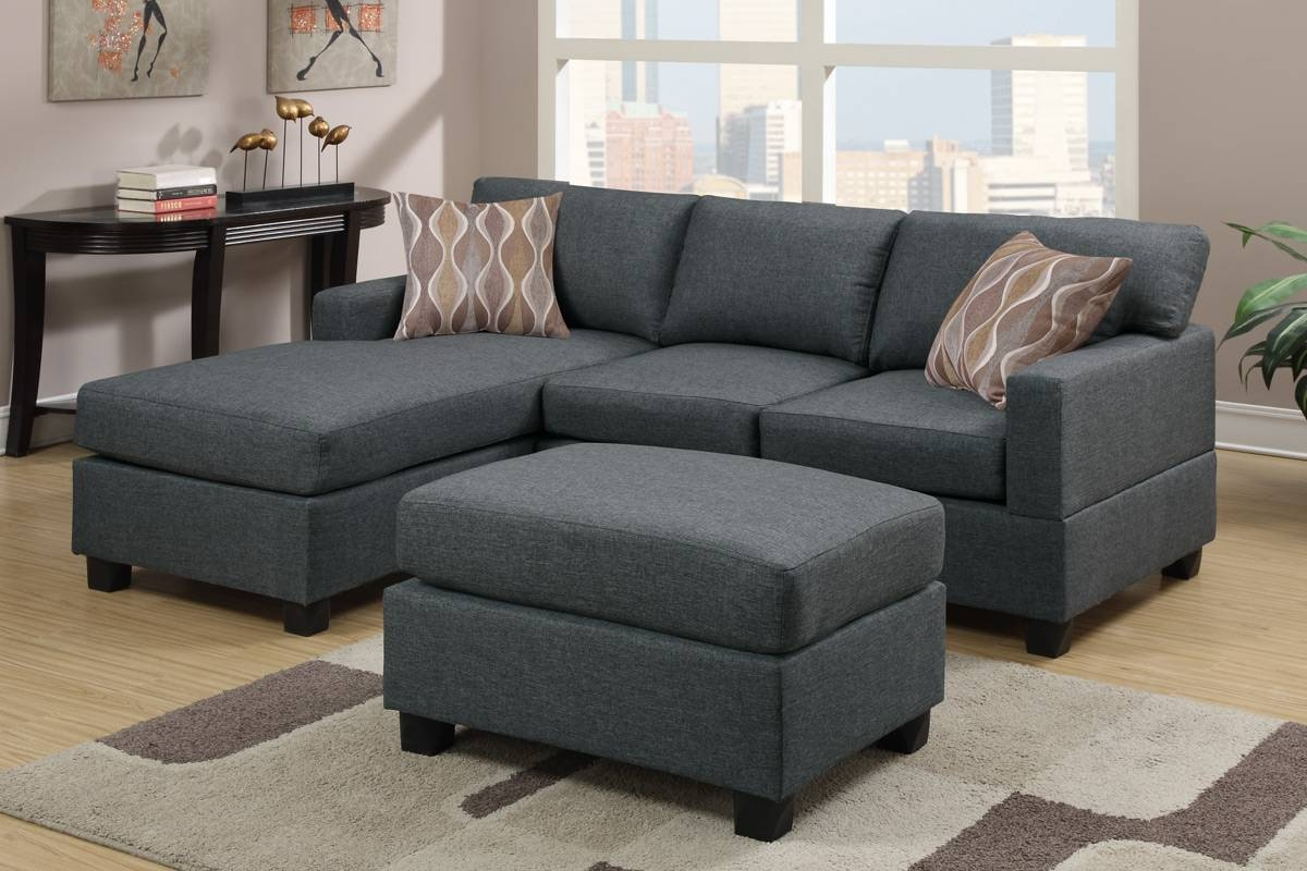 Akeneo Grey Fabric Sectional Sofa And Ottoman - Steal-A-Sofa with regard to Poundex Sofas (Image 6 of 15)