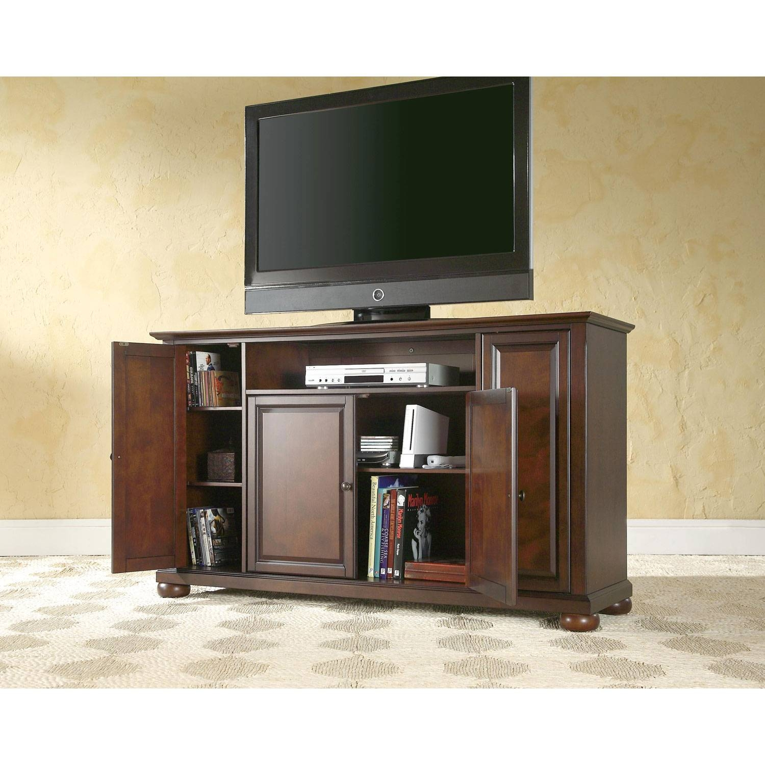 Alexandria 60 Inch Tv Stand In Vintage Mahogany Finish Crosley Regarding Corner 60 Inch Tv Stands (View 2 of 15)