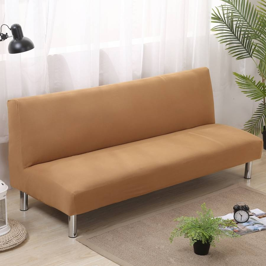 Aliexpress : Buy Solid Color Folding Sofa Cover Elastic intended for Armless Sofa Slipcovers (Image 1 of 15)