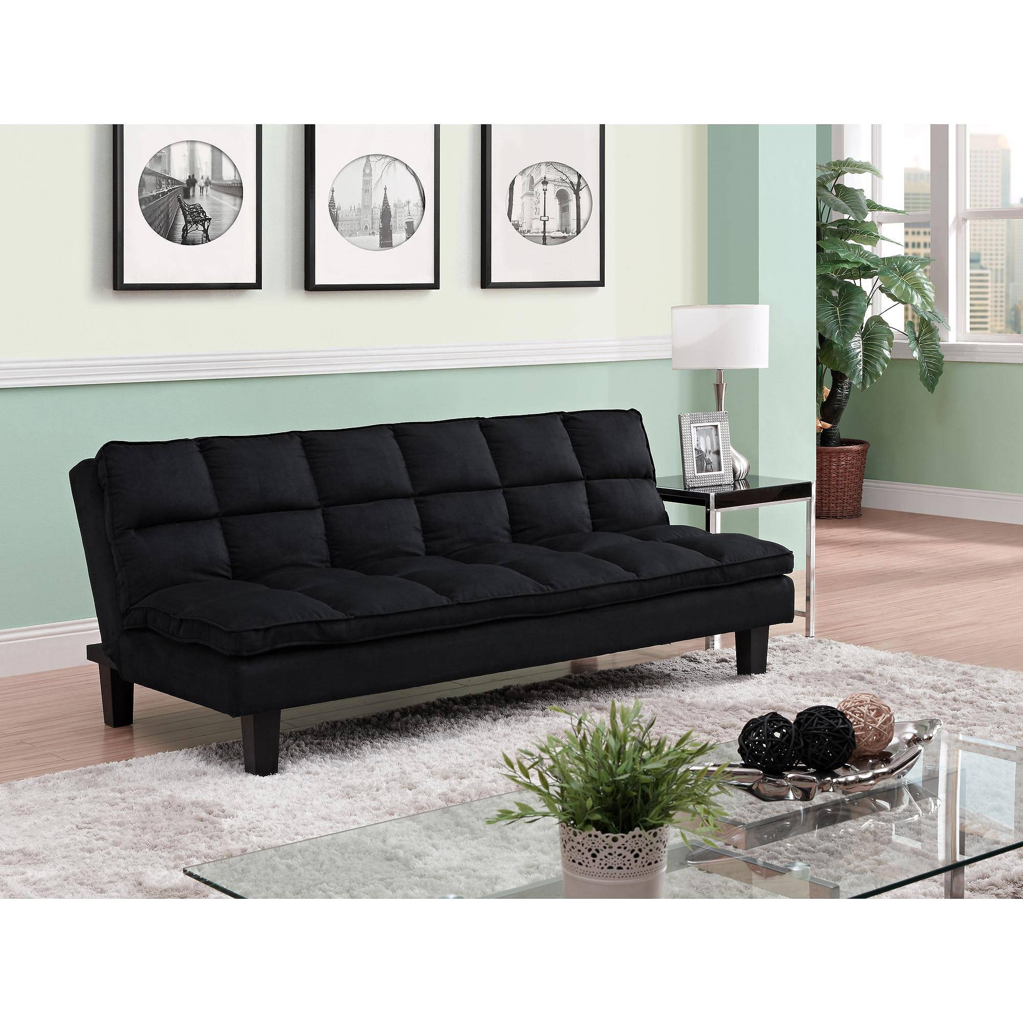 Allegra Pillow-Top Futon, Black - Walmart for Mainstays Sleeper Sofas (Image 2 of 15)