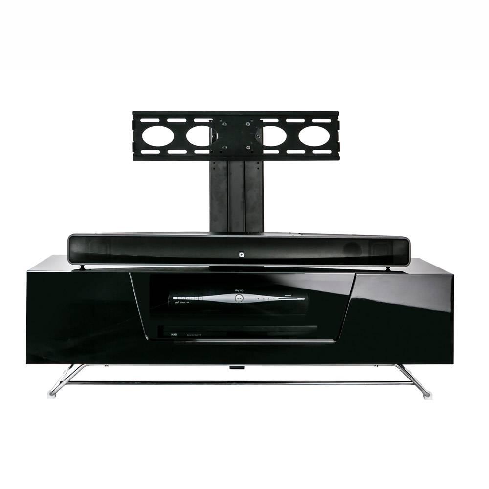 Alphason Chromium 2 1200 Gloss Black Tv Cabinet W/ Tv Bracket Inside Shiny Black Tv Stands (View 1 of 15)
