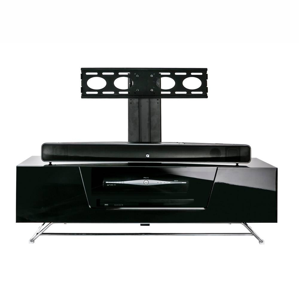 Alphason Chromium 2 1200 Gloss Black Tv Cabinet W/ Tv Bracket pertaining to Shiny Black Tv Stands (Image 1 of 15)