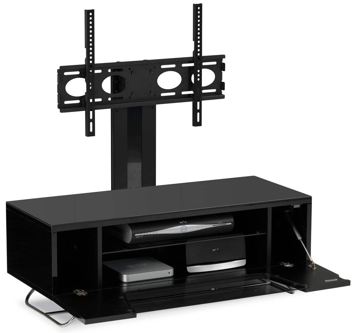 Alphason Chromium Black Cantilever Tv Stand throughout Cantilever Tv Stands (Image 1 of 15)