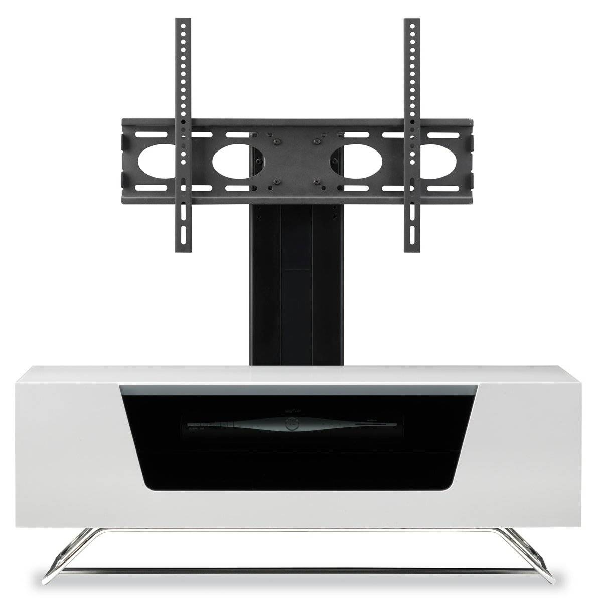 Alphason Chromium High Gloss Cantilever Tv Stand Unit Remote with regard to Cantilever Tv Stands (Image 2 of 15)