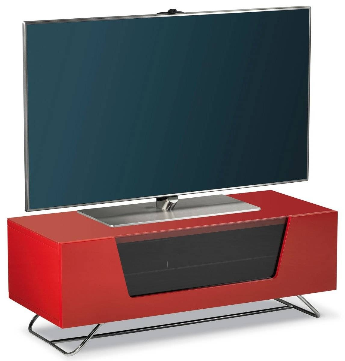 """Alphason Chromium Red Tv Stand For Up To 50"""" Tvs Regarding Red Tv Stands (View 7 of 15)"""