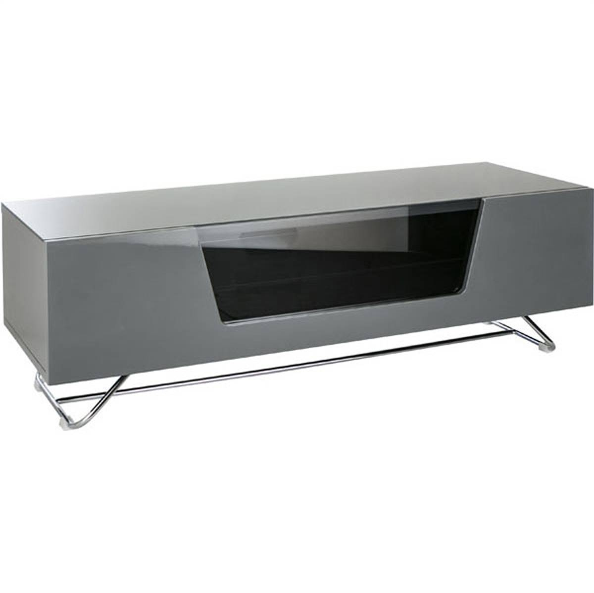 Alphason New Alpha Chromium Tv Cabinet 1200 Grey Tv Stand / Tv pertaining to Grey Tv Stands (Image 1 of 15)