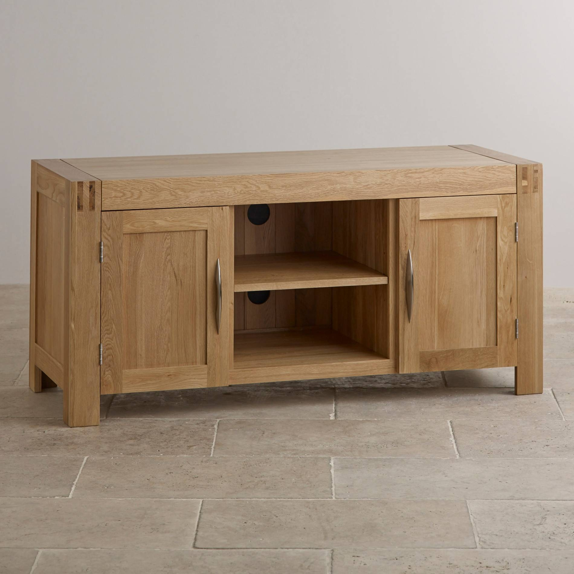 Alto Tv Cabinet In Solid Oak | Oak Furniture Land intended for Widescreen Tv Cabinets (Image 1 of 15)