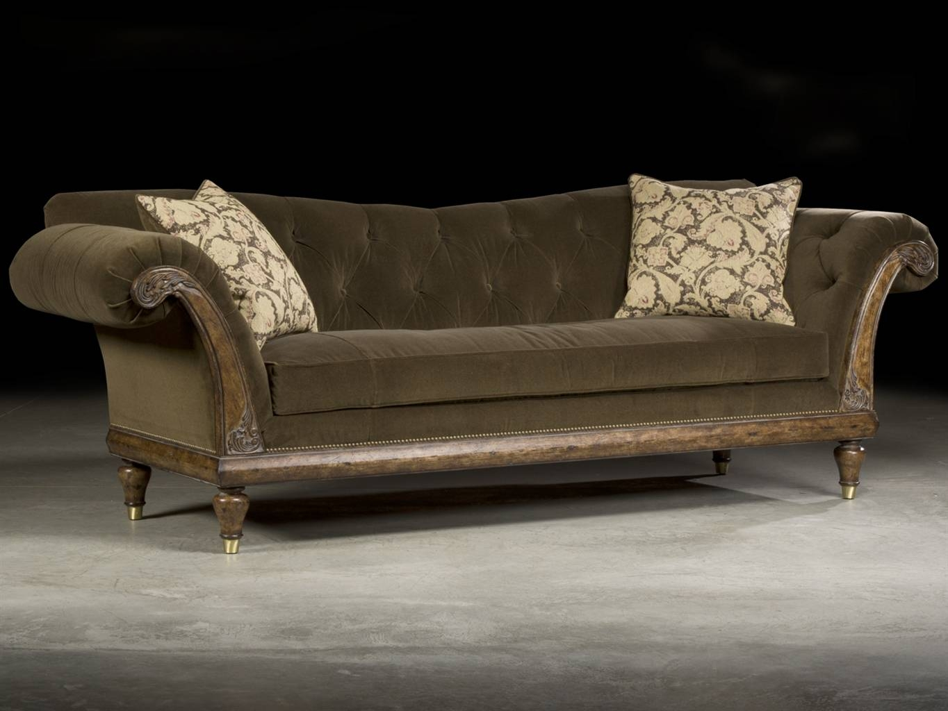 Amazing Tufted Velvet Sofa 68 On Contemporary Sofa Inspiration inside Brown Velvet Sofas (Image 2 of 15)
