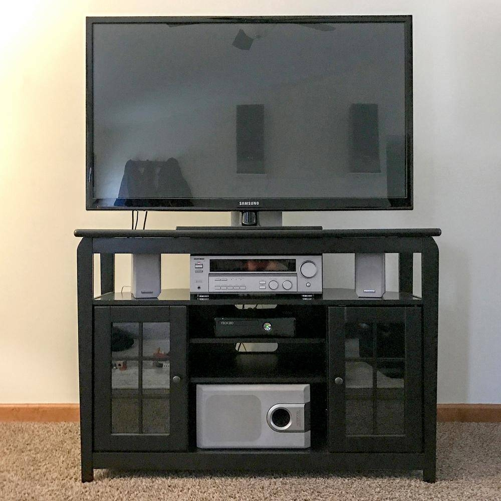 Amerihome 48 In. Wood Corner Television Stand In Black With 175 Lb in Black Wood Corner Tv Stands (Image 1 of 15)