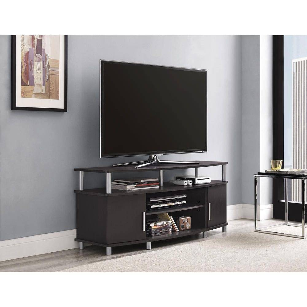 Ameriwood Carson Tv Stand In Espresso 1195096 – The Home Depot Inside Silver Tv Stands (View 8 of 15)