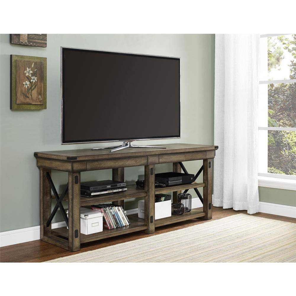 Ameriwood Wildwood Rustic Gray Oak Storage Entertainment Center for 24 Inch Deep Tv Stands (Image 2 of 15)