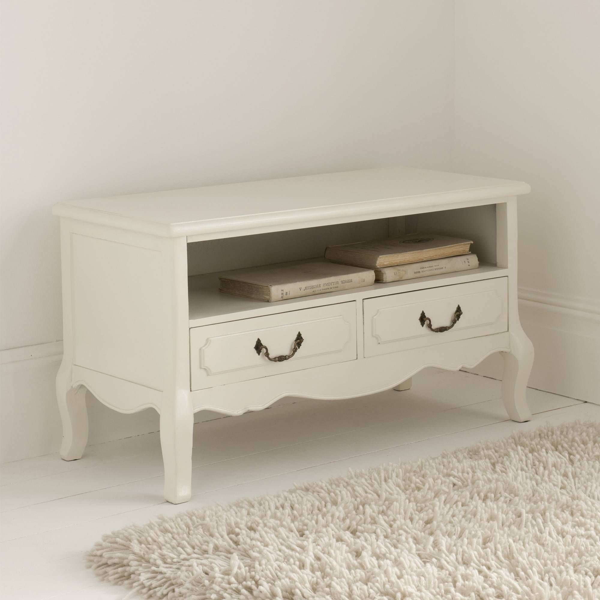 Antique French Tv Stand | Antique White Furniture Range With Shabby Chic Tv Cabinets (View 1 of 15)