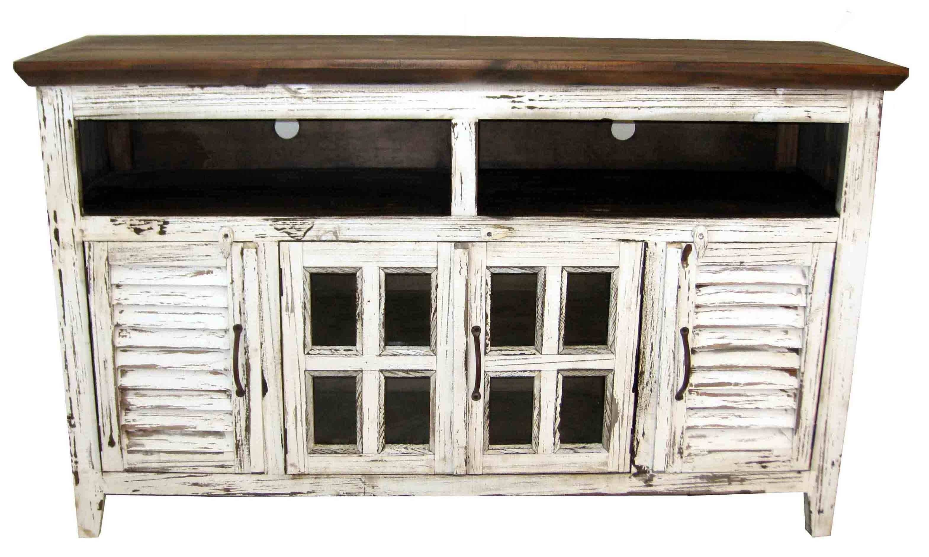 Antique White Cabana Tv Stand With Shutter Doors Texas Rustic For Rustic Tv Stands (View 3 of 15)