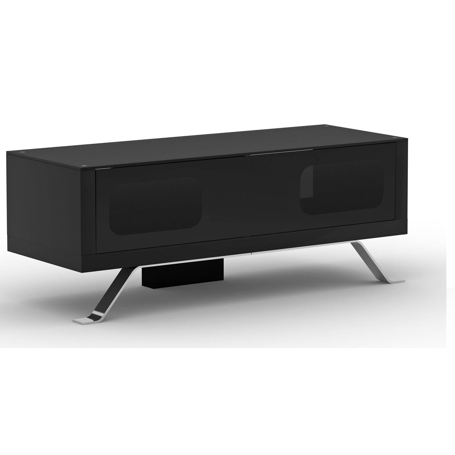 Arcadia Black Tv Cabinet With Glass Top 20518 Furniture In inside Glass Tv Cabinets With Doors (Image 1 of 15)
