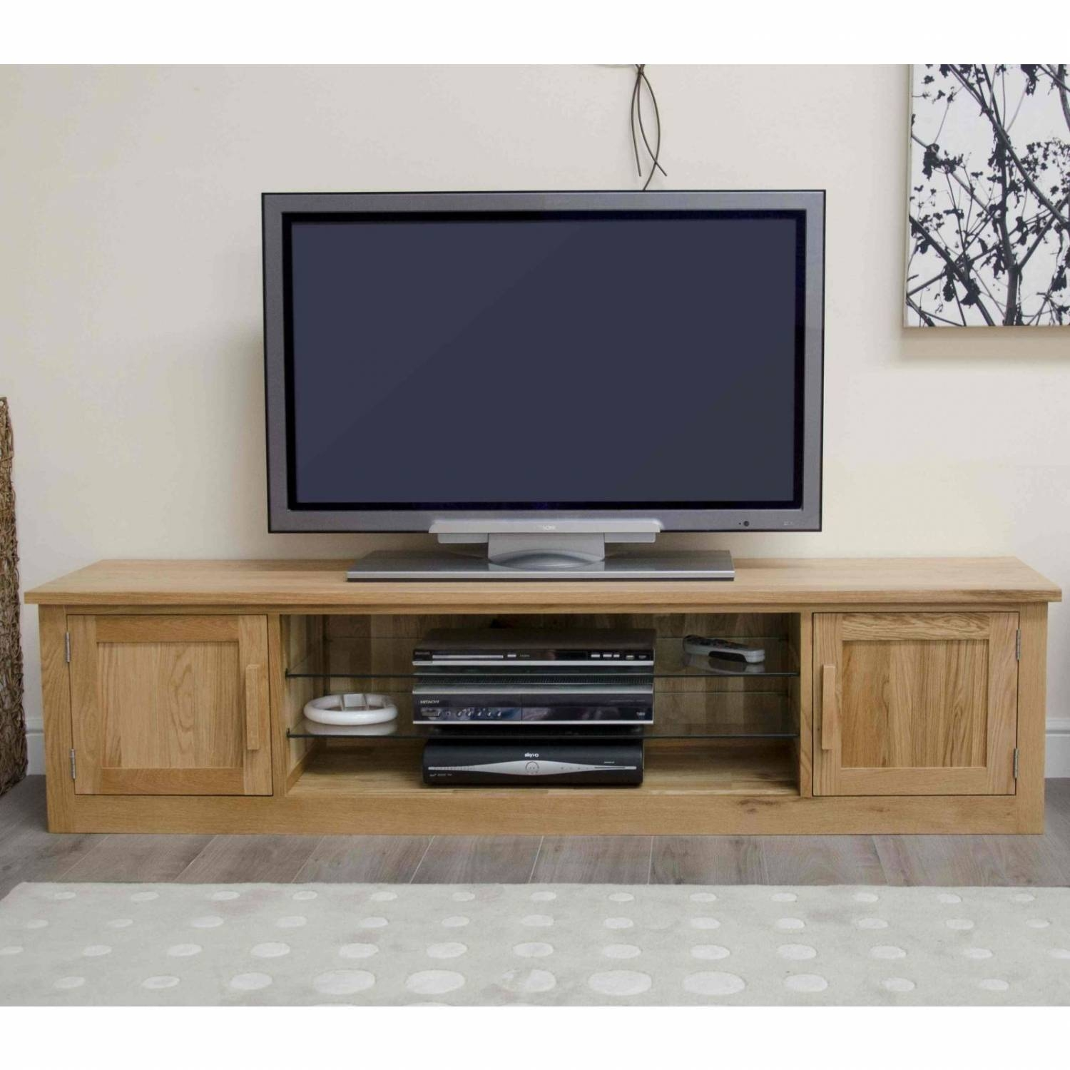Arden Solid Oak Living Room Furniture Large Widescreen Tv Cabinet with Widescreen Tv Cabinets (Image 2 of 15)