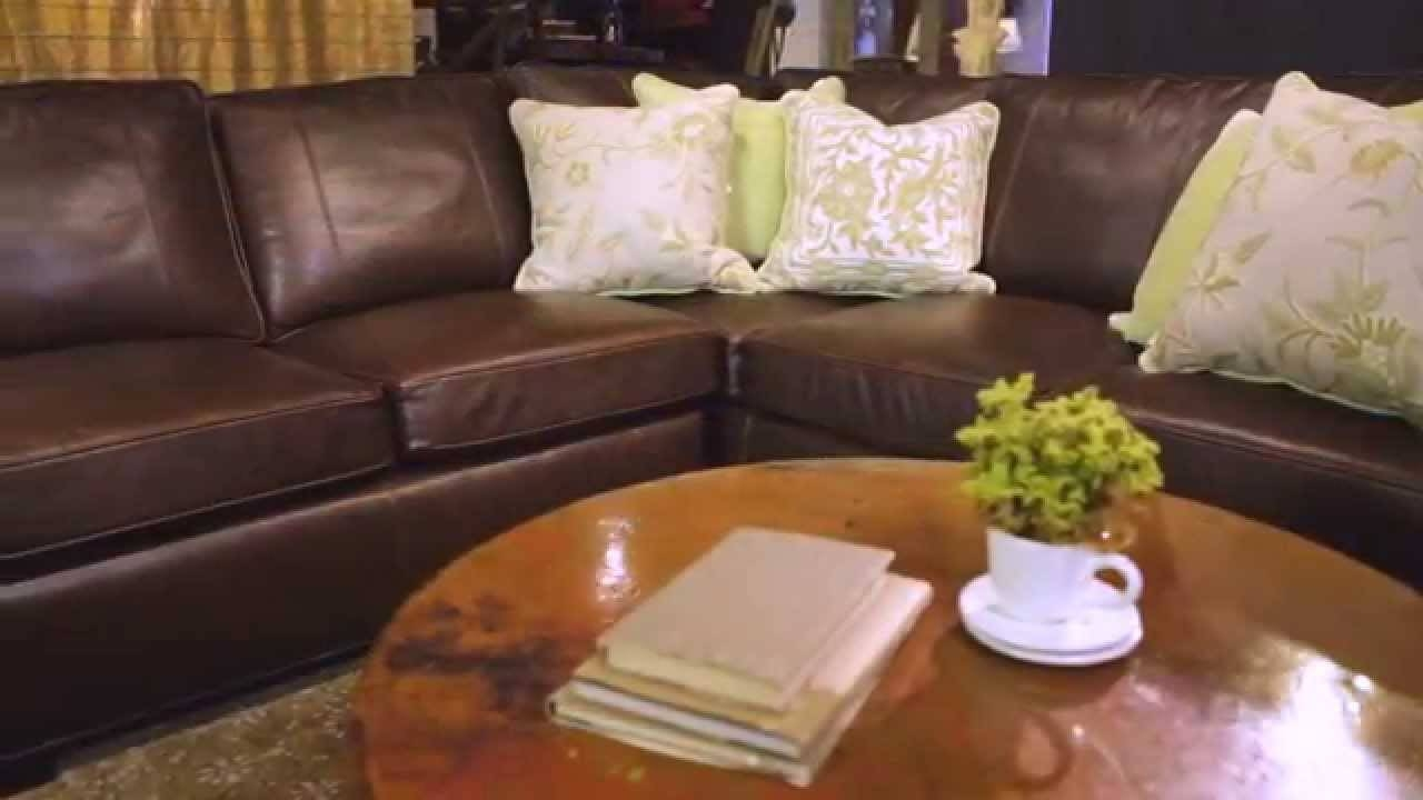 Arhaus | Upholstery | Brentwood Leather Sectional - Youtube in Arhaus Leather Sofas (Image 3 of 15)