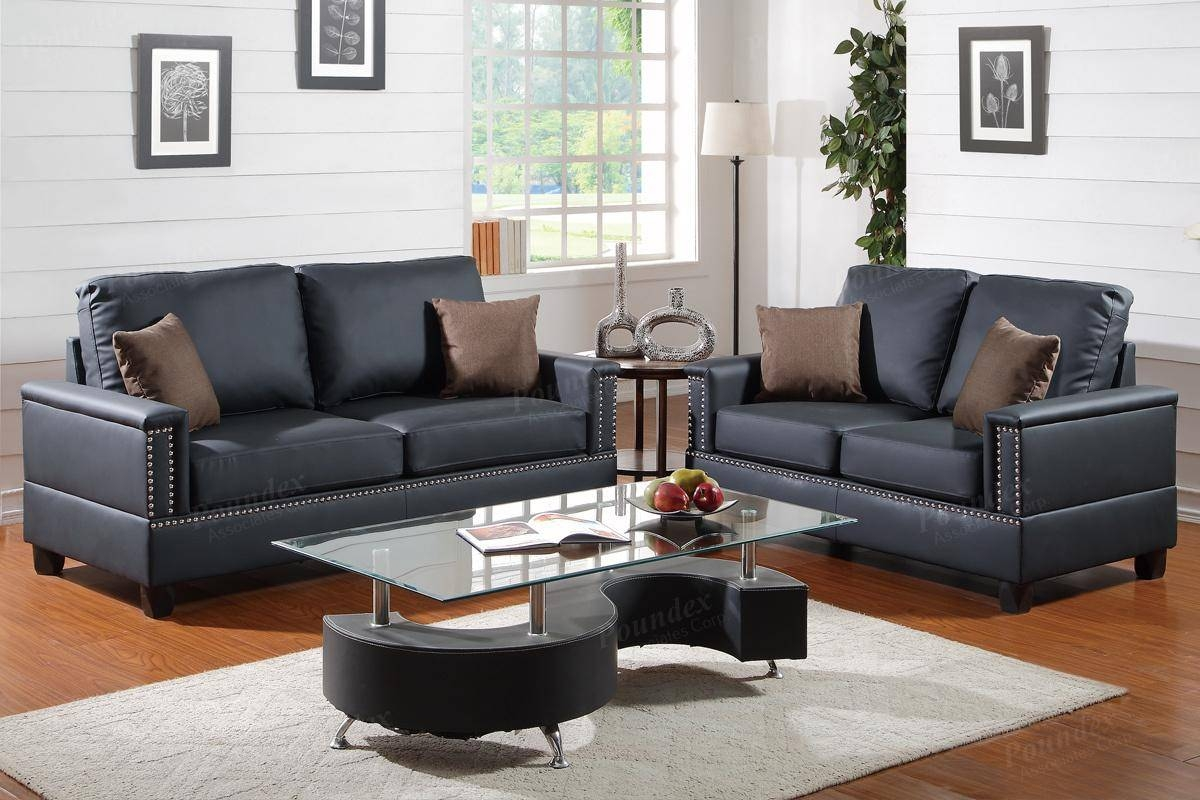 Arri Black Leather Sofa And Loveseat Set - Steal-A-Sofa Furniture regarding Black Leather Sofas And Loveseat Sets (Image 1 of 15)