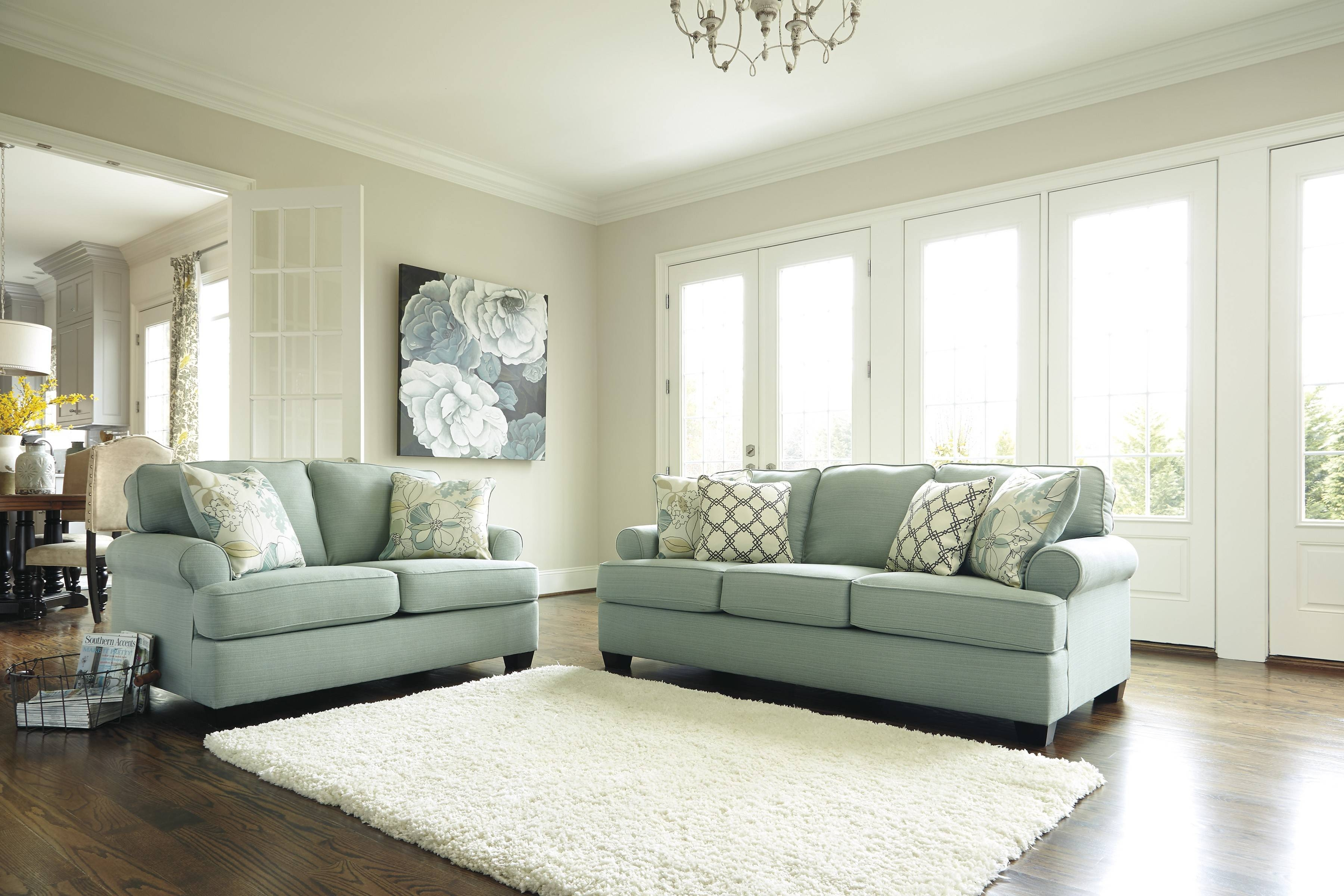 Ashley 2820038-35 Daystar-Seafoam Sofa Set | Cheny Furniture pertaining to Seafoam Green Sofas (Image 3 of 15)
