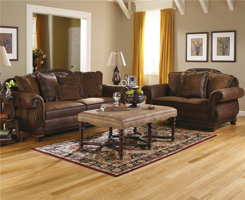 Ashley Furniture Bradington - Truffle Stationary Living Room Group intended for Bradington Truffle Sofas (Image 3 of 15)